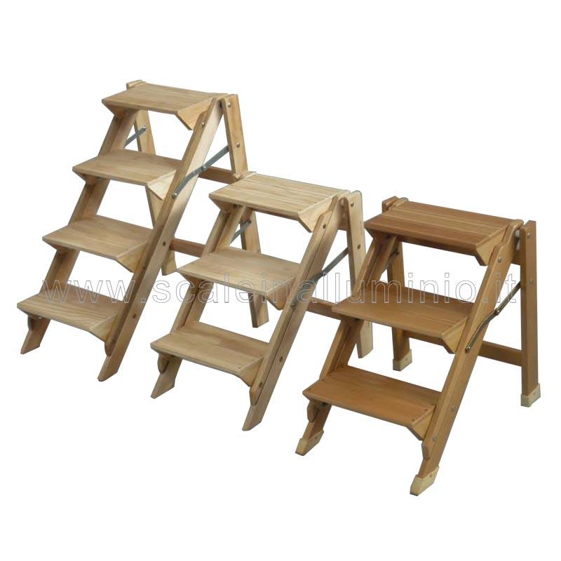Sgabello 4 gradini in legno vario non verniciato for Gradini in legno prezzi