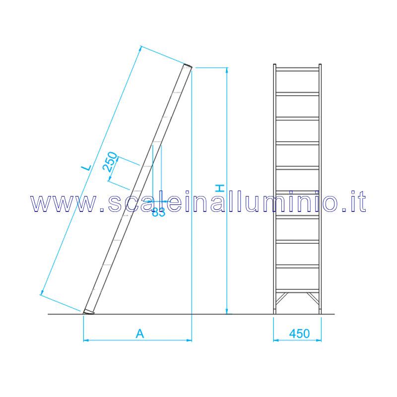 Scala per soppalchi in alluminio 600 mm 20 gradini senza - Scale per soppalchi ...