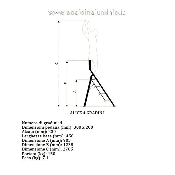 Scale in alluminio alice 4 gradini for Profili per gradini in acciaio