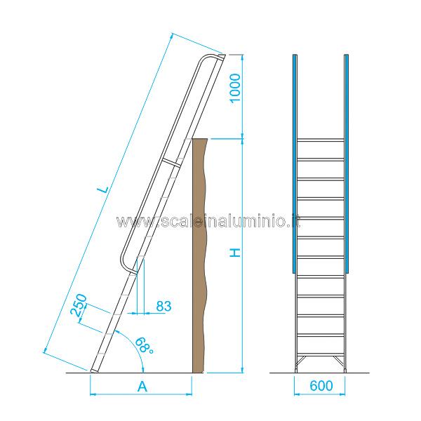 Scala per soppalchi in alluminio 5 gradini con prolunga - Scale per soppalchi ...