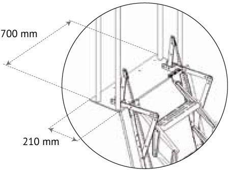 Piastra di fissaggio per scala retrattile per soppalchi con misure