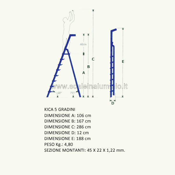 Scala in alluminio a salita singola kicca 5 gradini for Prezzo alluminio usato al kg 2016
