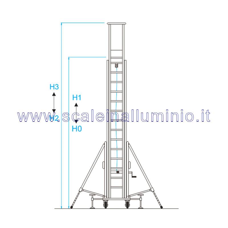 Scala in alluminio verticale con base e piano di lavoro for Scala metri quadrati