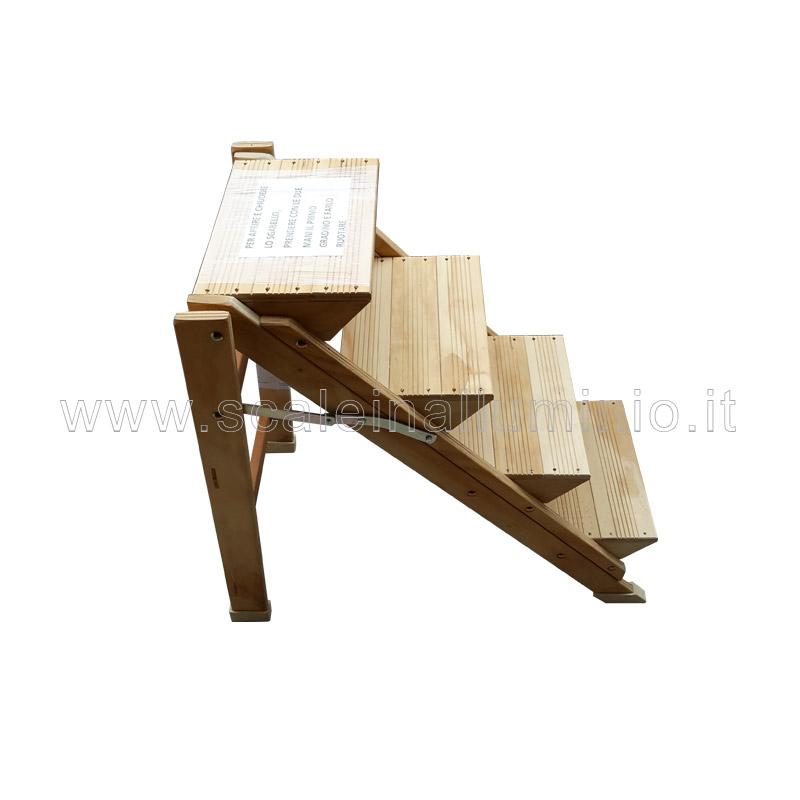 Sgabello 3 gradini in legno di faggio verniciato for Gradini in legno prezzi