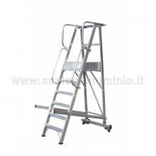 Scale a castello in alluminio con certificato DL 81 - 4 gradini