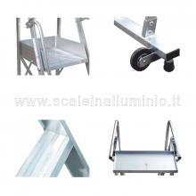 Scale a castello in alluminio con certificato DL 81 - 14 gradini particolari