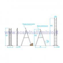 Scala componibile multiposizione in alluminio 2 x 8 misure