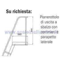 Scala per soppalchi in alluminio 600 mm 14 gradini senza prolunga - accessori: pianerottolo d'uscita