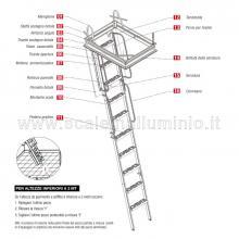 Scale retrattili per soffitte e sottotetti rigida 60/70 x 130 disegno con misure