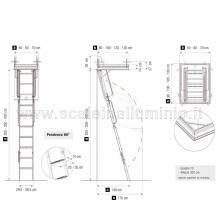 Scale retrattili per soffitte e sottotetti rigida 60/70 x 130 disegno con ingombri