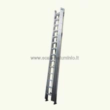 Scala in alluminio con fune 2 rampe 16 gradini
