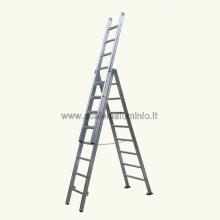 Scala in alluminio componibile 3 rampe 18 gradini