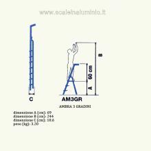 Scala in alluminio salita singola uso casalingo 3 gradini misure