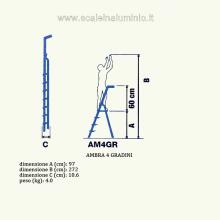 Scala in alluminio salita singola uso casalingo 4 gradini misure