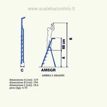 Scala in alluminio salita singola uso casalingo 5 gradini misure