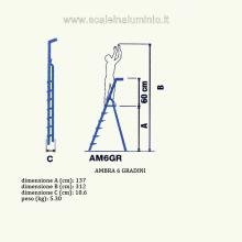 Scala in alluminio salita singola uso casalingo 6 gradini misure