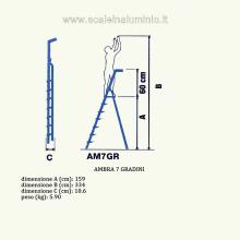Scala in alluminio salita singola uso casalingo 7 gradini misure