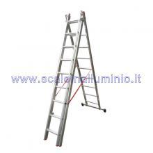 Scala in alluminio componibile allungabile 3 rampe 9 gradini posizione cavalletto