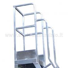 Scala a castello in alluminio 14 gradini cestello di contenimento con battipiede. A richiesta cancelletto apribile.