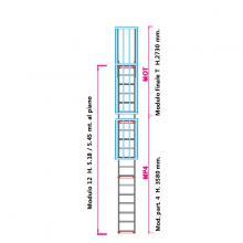 Scala con gabbia di protezione modulare n°12