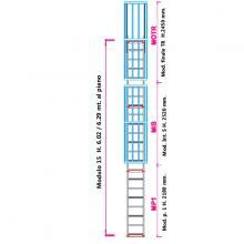 Scala con gabbia di protezione modulare n°15