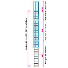 Scala con gabbia di protezione modulare n°17