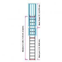 Scala con gabbia di protezione modulare n°8