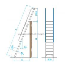 grafico scala per soppalchi in alluminio 5 gradini
