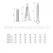 Scala componibile in alluminio Export 3 X 7 dettaglio misure
