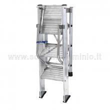Sgabello in alluminio professionale con 4 gradini da 20 cm richiuso - parapetto reclinabile
