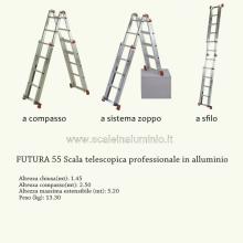 scala in alluminio telescopica doppia salita 5 + 5