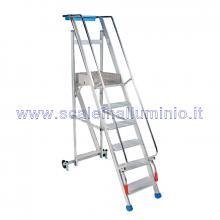 Scale a castello in alluminio mt 1.0 - scala pieghevole 4 gradini