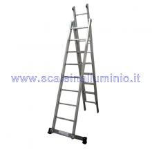 Scala componibile 2 x 8 con con barra regolabile