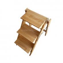 Sgabello 3 gradini in legno vario non verniciato vista alto