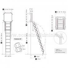 Scale retrattili a parete per soffitte e sottotetti oppure soppalchi 50 x 100 misure d'ingombro