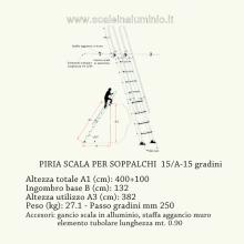 scale in alluminio - Scala piria 15 gradini con prolunga