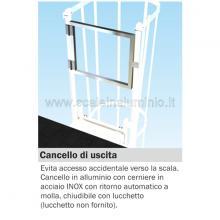 Cancello di uscita per scala con gabbia di protezione