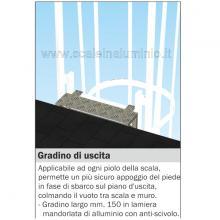 Gradino di uscita per scala con gabbia di protezione