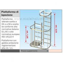 Scala con gabbia di protezione piattaforma di ispezione