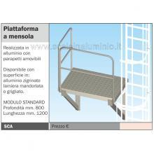 piattaforma a mensola per scala con gabbia di protezione