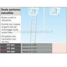 Scala partenza estraibile H 224 per scale modulari con gabbia di protezione.