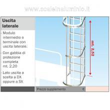 Scala con gabbia di protezione uscita laterale