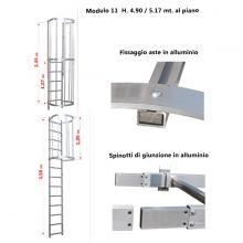 Scala con gabbia di protezione modulare n°11 particolari