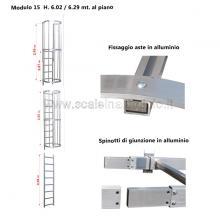 Scala con gabbia di protezione modulare n°15 particolari