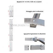 Scala con gabbia di protezione modulare n°24 particolari