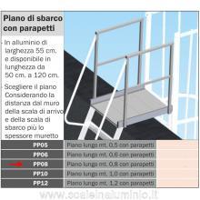 Piano di sbarco lungo 0,8 mt. per scale modulari con gabbia di protezione