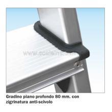 Scala a salita singola 5 gradini - gradino piano da 80 mm con trattamento anti scivolo