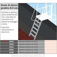 Scala di sbarco gradino 8.3 cm H. piano 0.52 mt. per scale modulari con gabbia