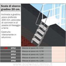 Scala di sbarco gradino 20 cm H. piano 0.52 mt. per scale modulari con gabbia