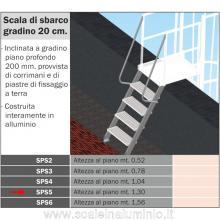 Scala di sbarco gradino 20 cm H. piano 1.30 mt. per scale modulari con gabbia